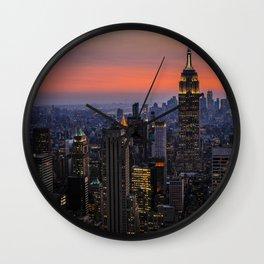 Sunset over Manhattan Wall Clock