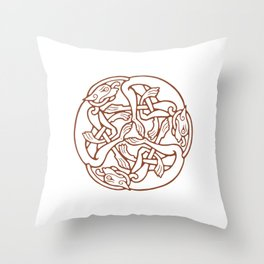 St. Patrick's Day Celtic Red Mandala #4 Throw Pillow