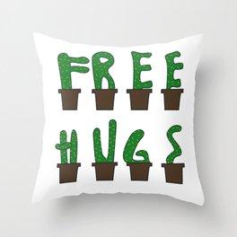 Kaktus free hugs hug me plant stin prickly saying funny gift idea Throw Pillow