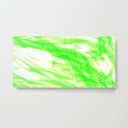 Green and smooth sparkling lines of light green ribbons on the theme of space and abstraction. Metal Print