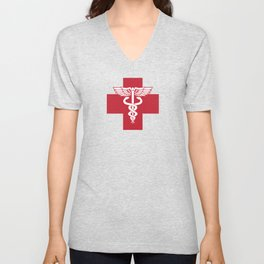 Medical Health Care Red Cross with Caduceus Symbol Unisex V-Neck