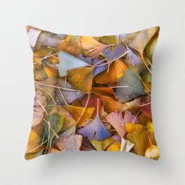 Fallen Ginkgo Leaves Throw Pillow