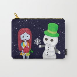 Snowman Jack and Sally with Poinsettia Carry-All Pouch