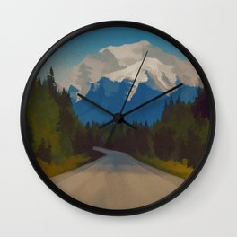 Rocky Mountains Canada Vintage Travel Poster Wall Clock