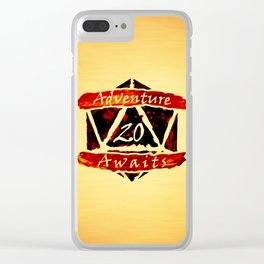 D20 Adventure Awaits Watercolor Way of Blood Clear iPhone Case