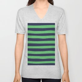 Blue & Green Stripes Pattern Unisex V-Neck