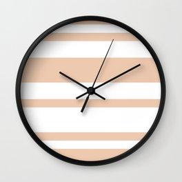 Mixed Horizontal Stripes - White and Desert Sand Orange Wall Clock