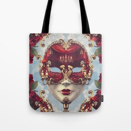 Floral Decadence - Red & Gold Venetian Mask Tote Bag