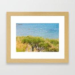 Green bushes and blue sea behind in Istria, Croatian coast Framed Art Print