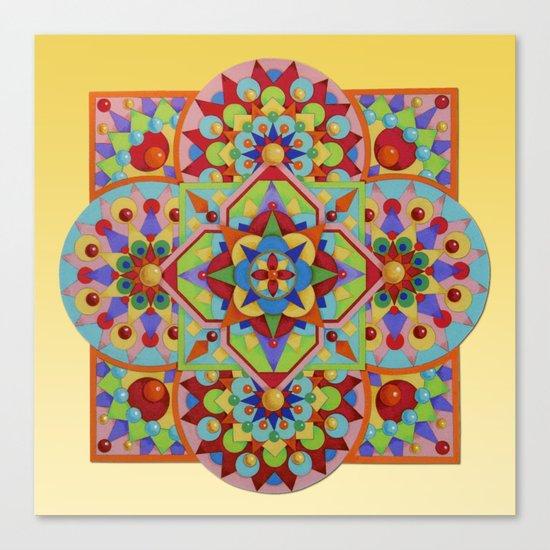 Chartres Mandala - yellow ground Canvas Print