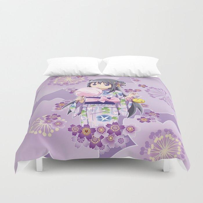 Homura Akemi (Yukata & Cherri Blossom edit) Duvet Cover