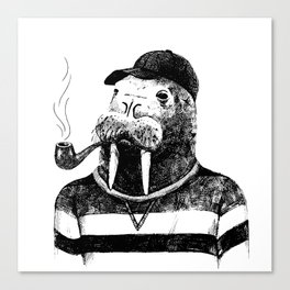 Walrus with a Pipe Canvas Print