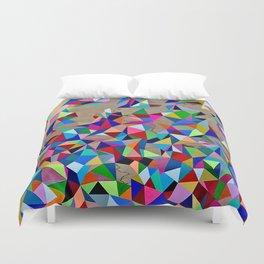 Geometric Rainbow Cluster on Wood Duvet Cover