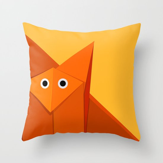 Geometric Cute Origami Fox Portrait Throw Pillow