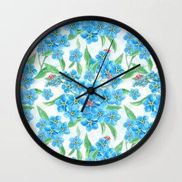 Forget me not flowers and ladybugs Wall Clock