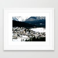 ski Framed Art Prints featuring ski resort by luiza13