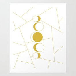 Golden moon phases Art Print