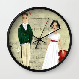 Mr.Darcy of Pemberley and Miss Bennet of Longbourn Wall Clock