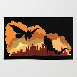 Godzilla versus Mothra cityscape Rug