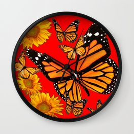 BUTTERFLIES & GOLDEN SUNFLOWERS ON CHINESE RED Wall Clock