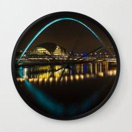 Newcastle bridges at night Wall Clock