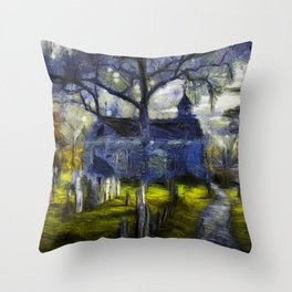 Sleepy Hollow Church Art Van Gogh Throw Pillow