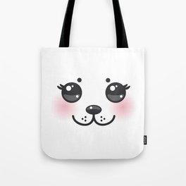 Kawaii funny albino animal white muzzle with pink cheeks and big black eyes Tote Bag