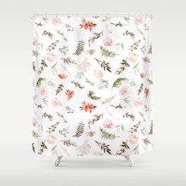 Coral pink green watercolor hand painted floral Shower Curtain