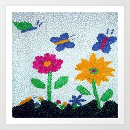 Butterflies and spring flowers bubble art Art Print