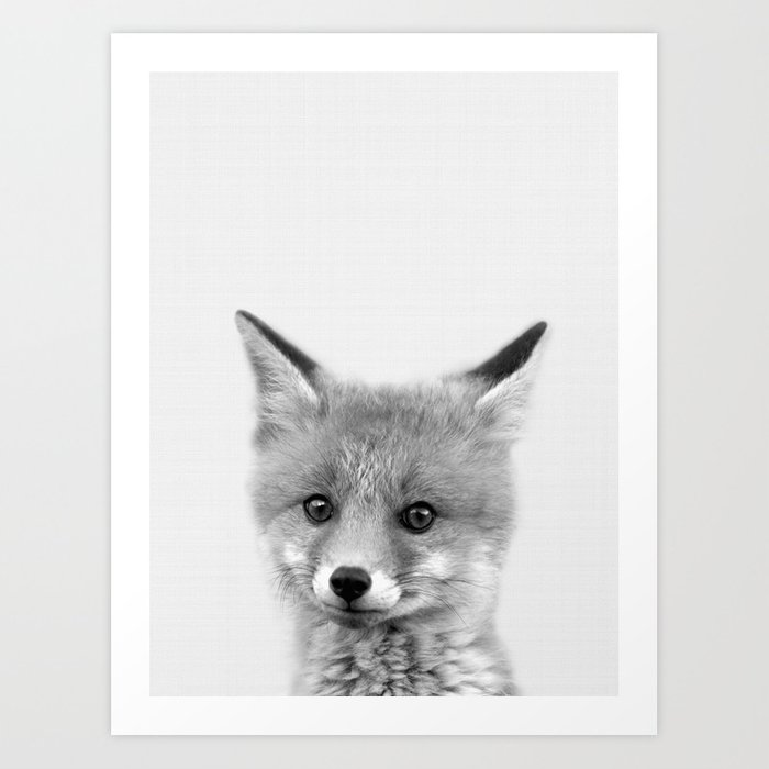 Black And White Fox Print Wall Art Nursery Decor Animal Baby Prints By Nikiandneo