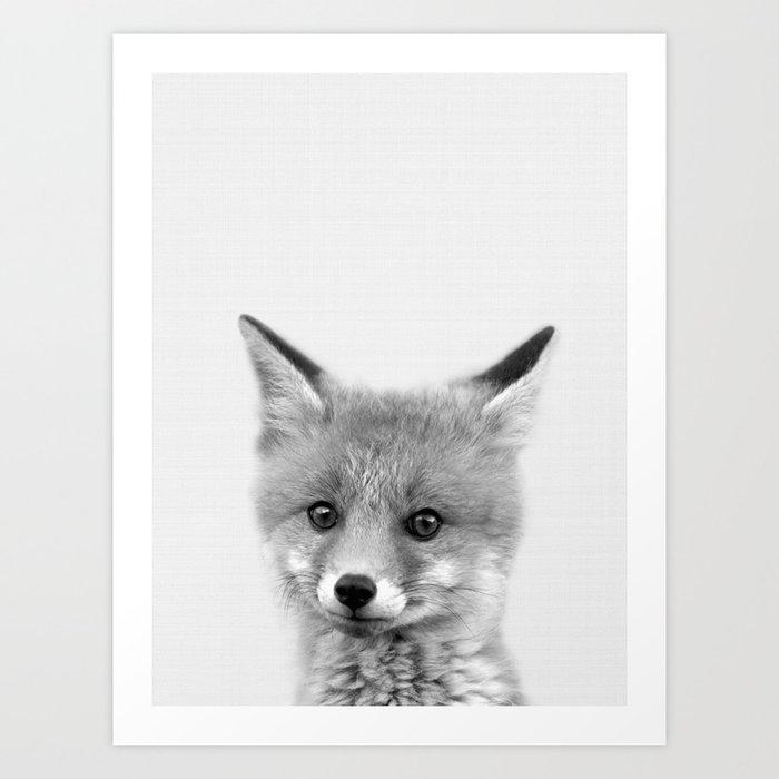 Black and white Fox print, Fox wall art, Nursery decor, Animal art ...