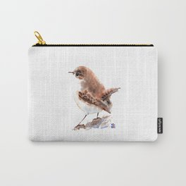 Watercolour Cute Wren bird by ili Carry-All Pouch