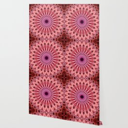 Pretty mandala in pink and red colors Wallpaper
