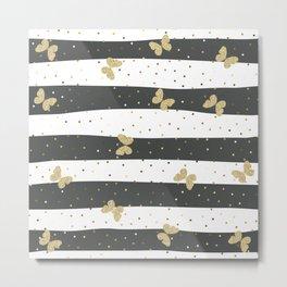 Butterfly Christmas seamless pattern Gold Confetti Dark Gray White Stripes Metal Print