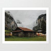 Camping Grounds of Lauterbrunnen, Switzerland Art Print