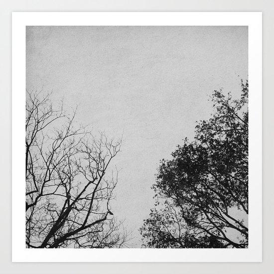 2 Trees (Grey) Art Print