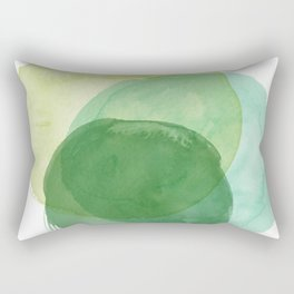 Abstract Organic Watercolor Shapes Painting in Green Rectangular Pillow