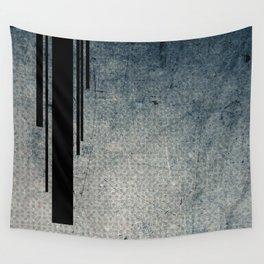Geometric Grunge Blue - Gray Vertical Black Stripes Polka Dots Illustration Wall Tapestry