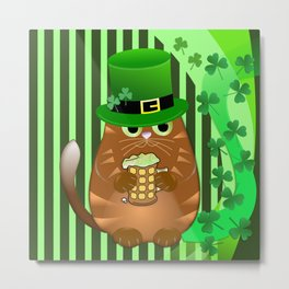 Sint Patrick's day cat with green top hat and drinking beer Metal Print