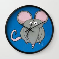mouse Wall Clocks featuring Mouse by Rafael Martinez