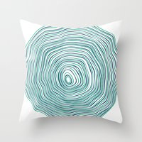 tree rings Throw Pillows featuring Tree Rings by Miami and Ema