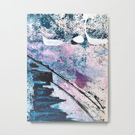 Breathe [5]: colorful abstract in black, blue, purple, gold and white Metal Print