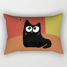 A cat and a fly in warm Rectangular Pillow