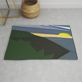 Psychedelic Magic landscap with stylised mountains, sea and yellow Sun. Rug