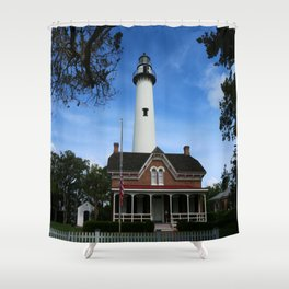 ST. SIMONS LIGHTHOUSE - Golden Isles Shower Curtain