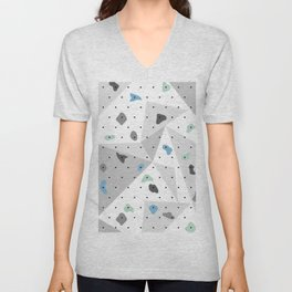 Abstract geometric climbing gym boulders blue mint Unisex V-Neck