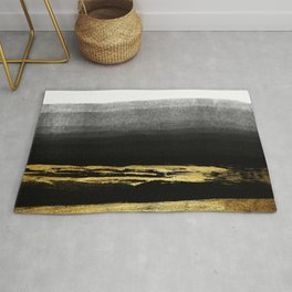 Black & Gold Stripes on White - Mix & Match with Simplicty of life Rug