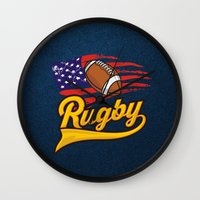 rugby Wall Clocks featuring RUGBY by solomnikov