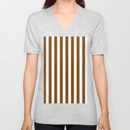 Narrow Vertical Stripes - White and Chocolate Brown Unisex V-Neck