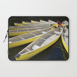 Tethered Yellow Canoes at Lost Lake in Whistler British Columbia Laptop Sleeve